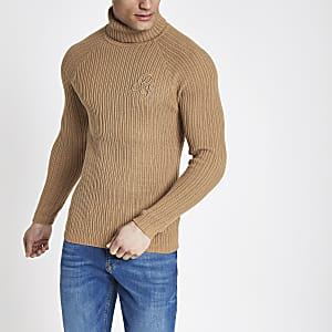 Brown muscle fit rib roll neck sweater