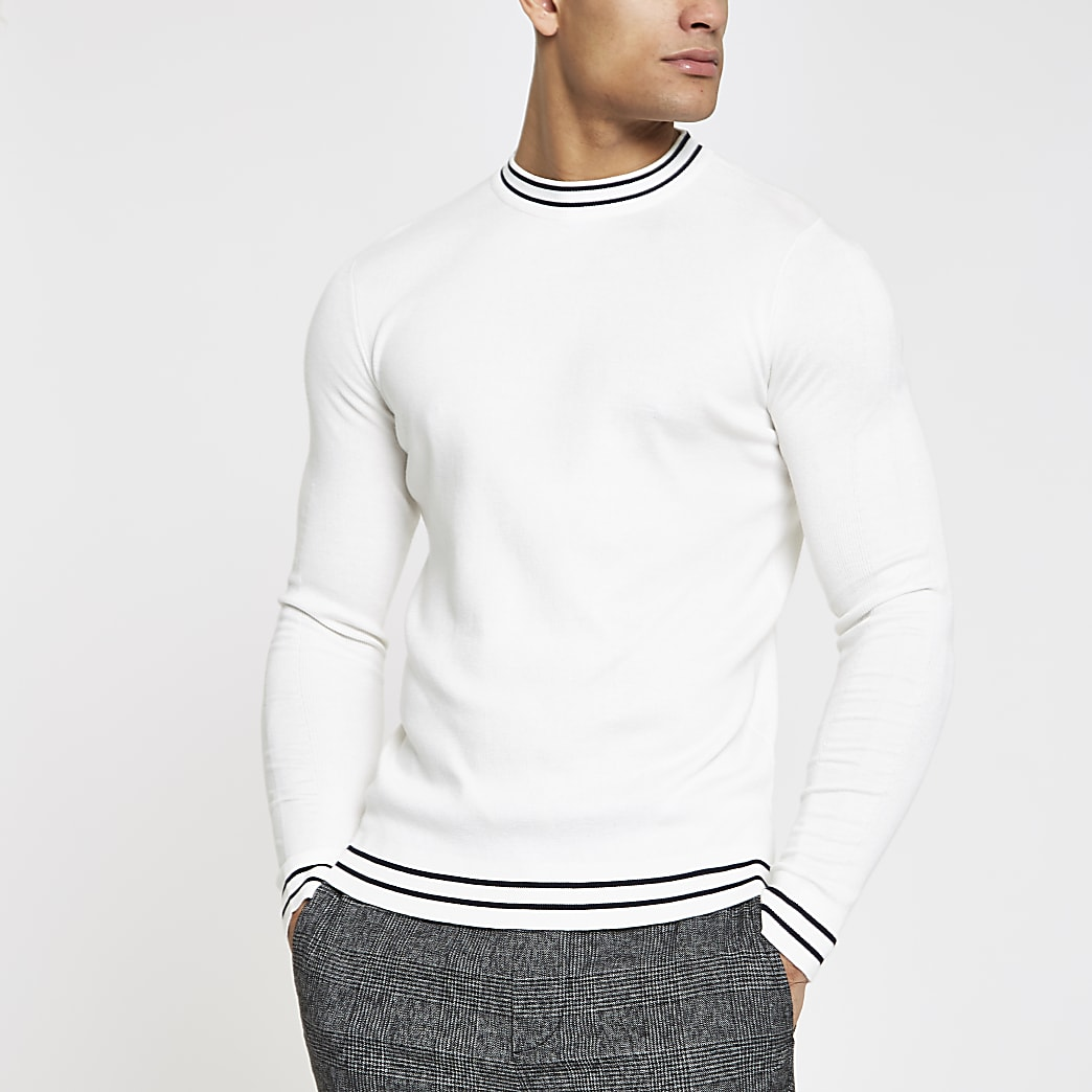 Ecru tipped crew neck muscle fit jumper
