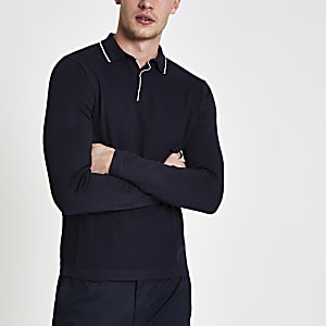 Navy slim fit tipped long sleeve polo shirt