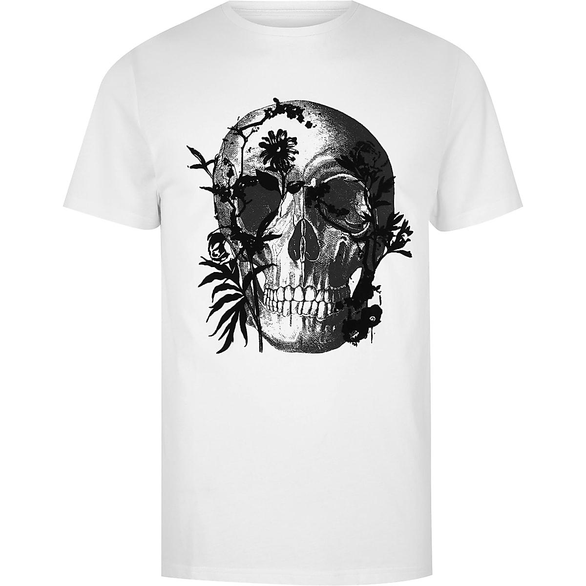 Big and Tall – T-shirt slim à imprimé tête de mort