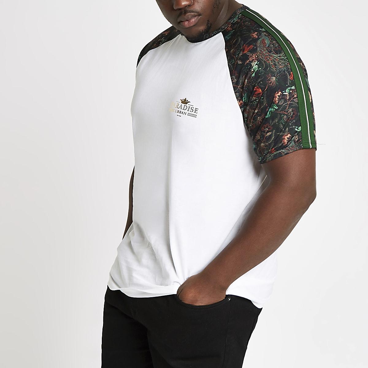 Big and Tall – Weißes T-Shirt mit Raglanärmeln