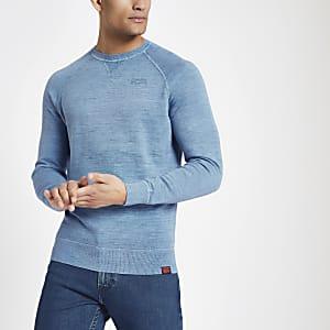 Superdry – Blaues Sweatshirt mit Rundhalsausschnitt