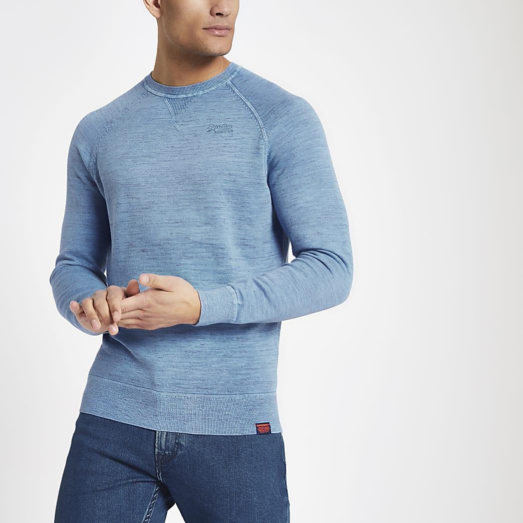 Superdry – Sweat ras-du-cou en maille bleu