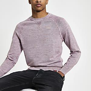 Superdry pink knit crew neck sweatshirt