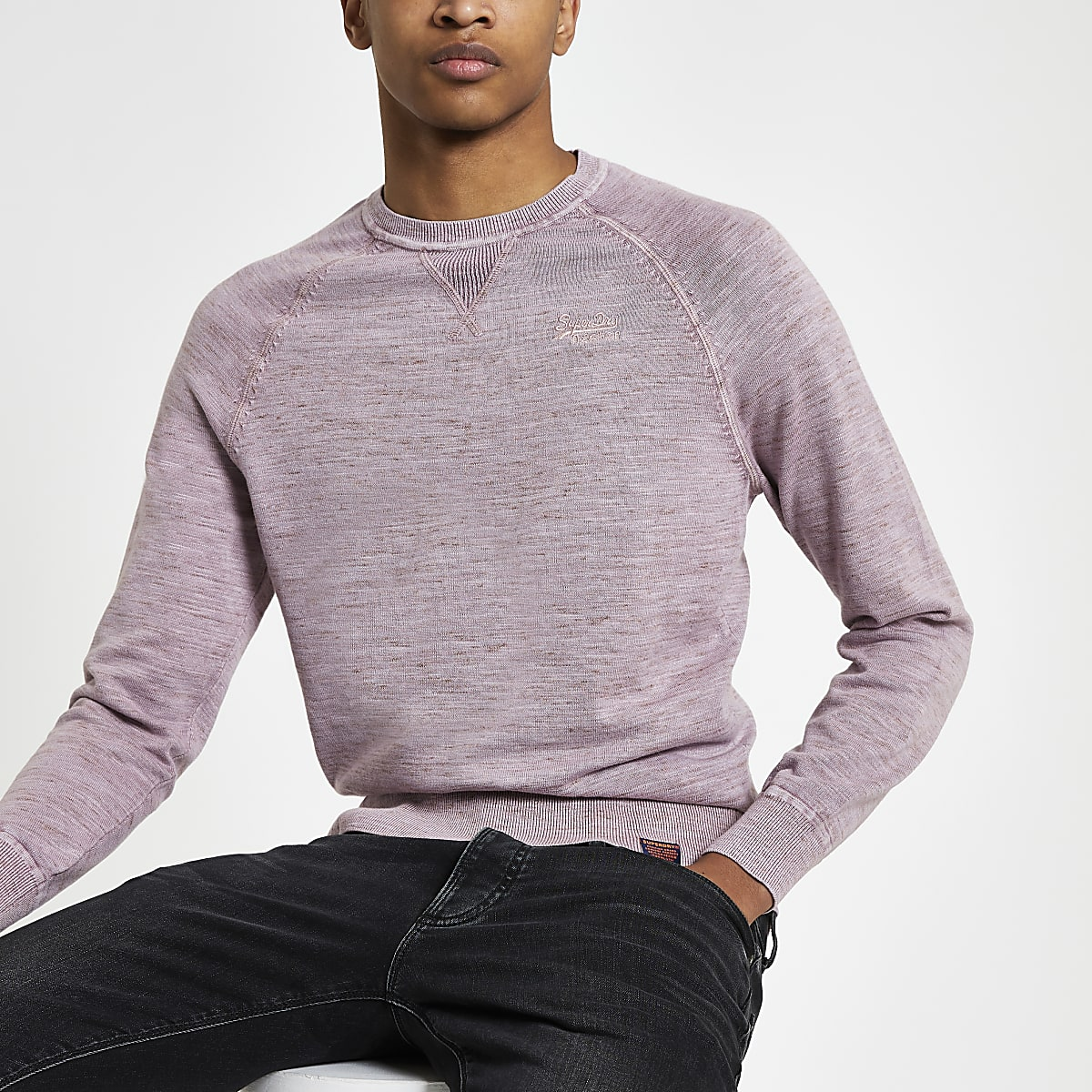 Superdry pink knit crew neck sweatshirt