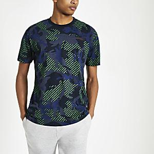 Superdry - Marineblauw T-shirt met camouflageprint