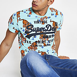 Superdry blue tiger print T-shirt