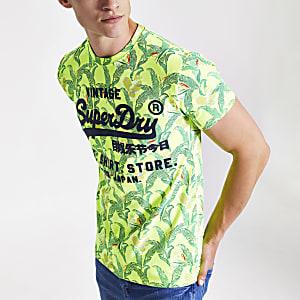 Superdry neon green leaf print T-shirt