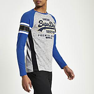 Superdry – T-shirt bleu à logo