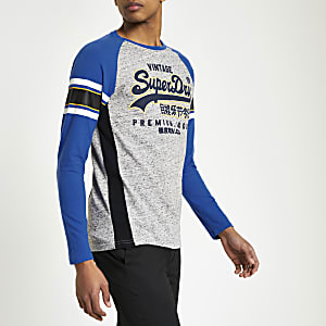 Superdry - Blauw T-shirt met logoprint