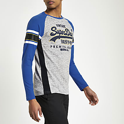Superdry blue logo print T-shirt