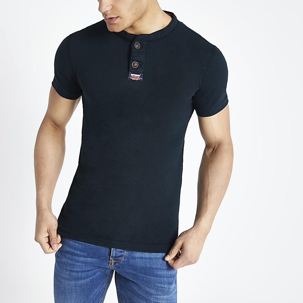 Superdry navy grandad collar T-shirt