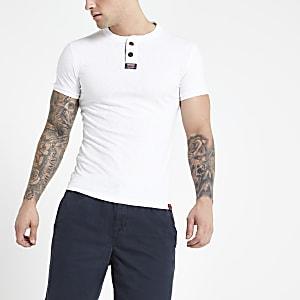 Superdry – T-shirt blanc à col officier