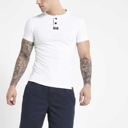 Superdry white grandad collar T-shirt