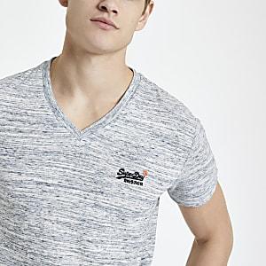 Superdry – T-shirt gris à col en V