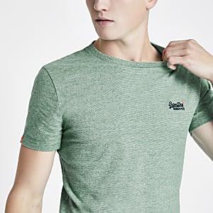 Superdry - Groen geborduurd T-shirt met logo