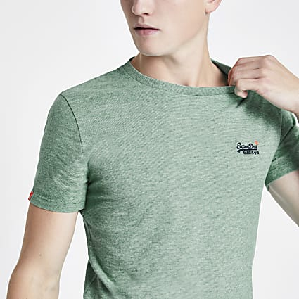 Superdry green logo embroidered T-shirt