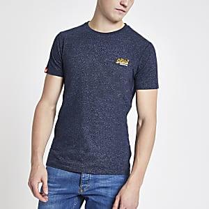 Superdry - Marineblauw geborduurd T-shirt met logo