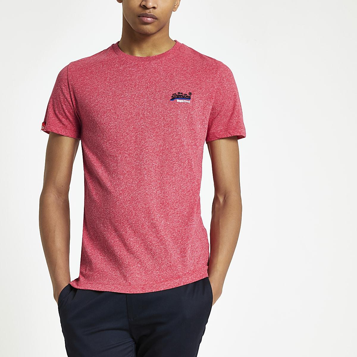 Superdry - Rood geborduurd T-shirt met logo