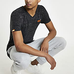 Superdry - Zwart T-shirt met V-hals