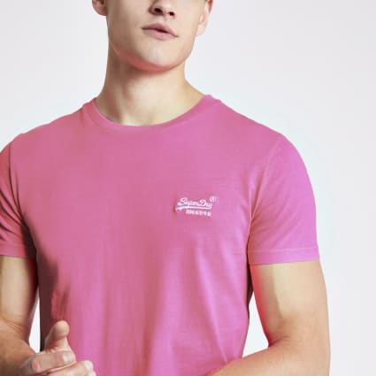 Superdry pink neon embroidered T-shirt