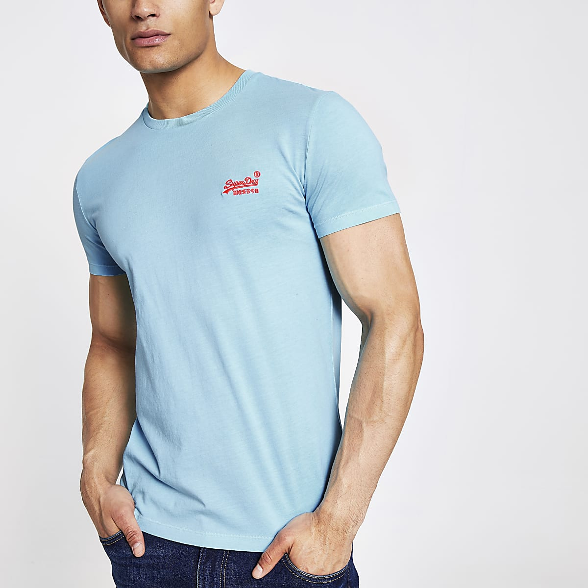 Superdry blue neon embroidered T-shirt