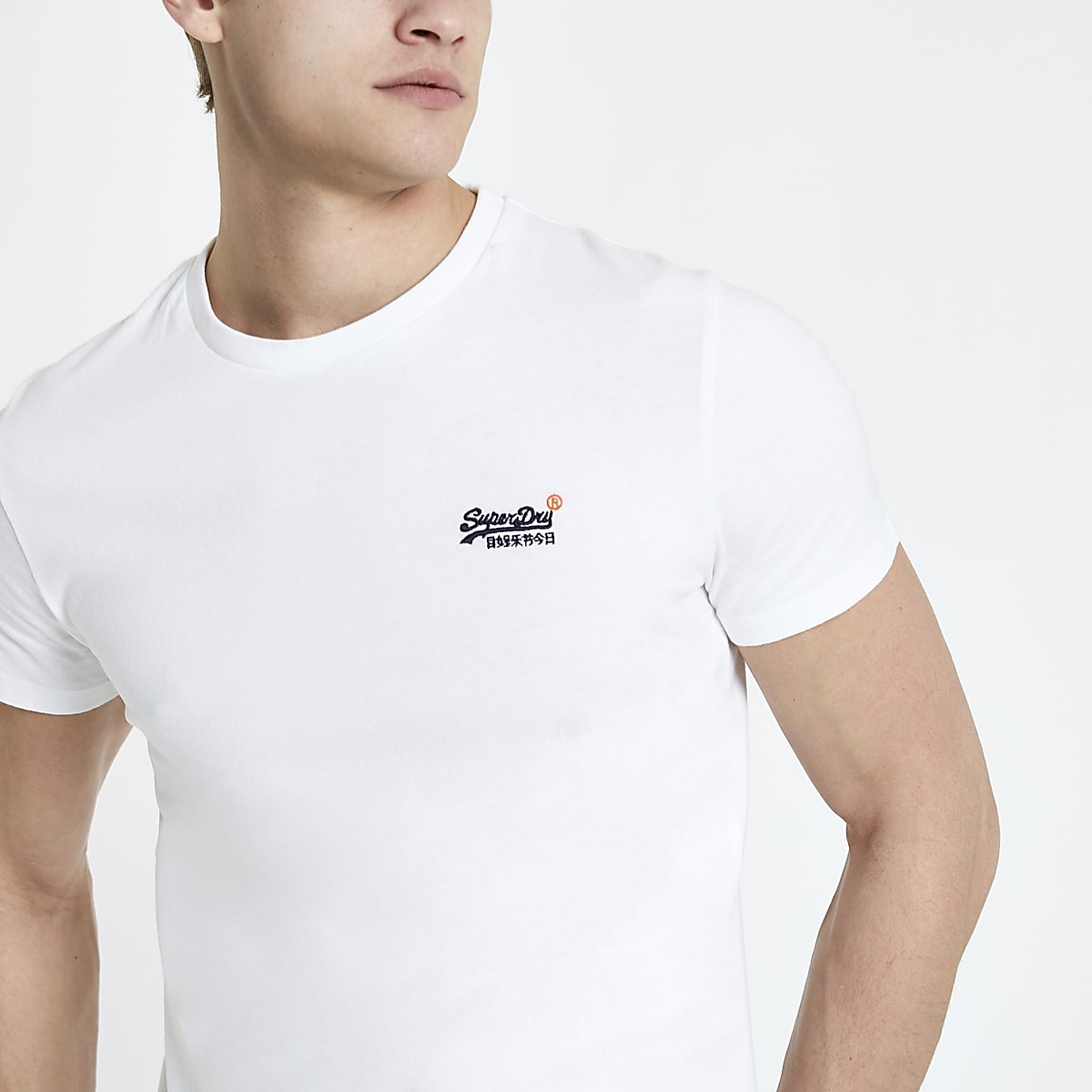 Superdry white logo embroidered T-shirt