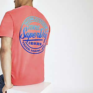 Superdry – T-shirt oversize rose à logo
