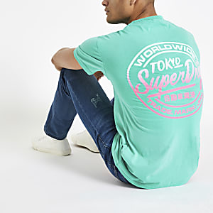 Superdry green logo print oversized T-shirt
