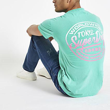 Superdry green logo print oversized T-shirt