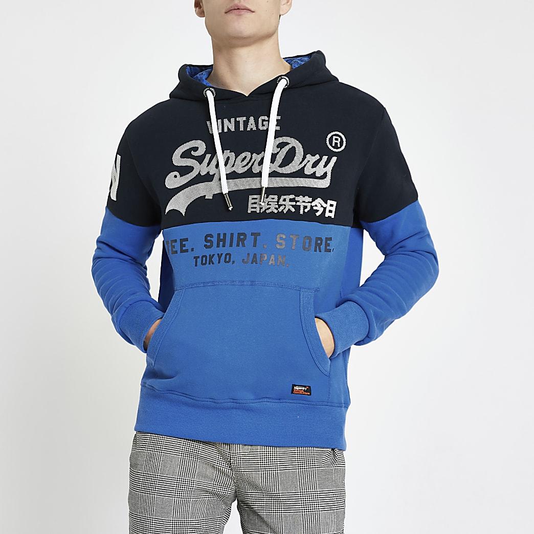 Superdry - Blauwe hoodie met blokprint