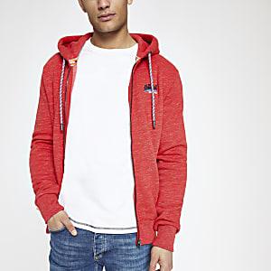 Superdry – Roter Hoodie mit Reißverschluss
