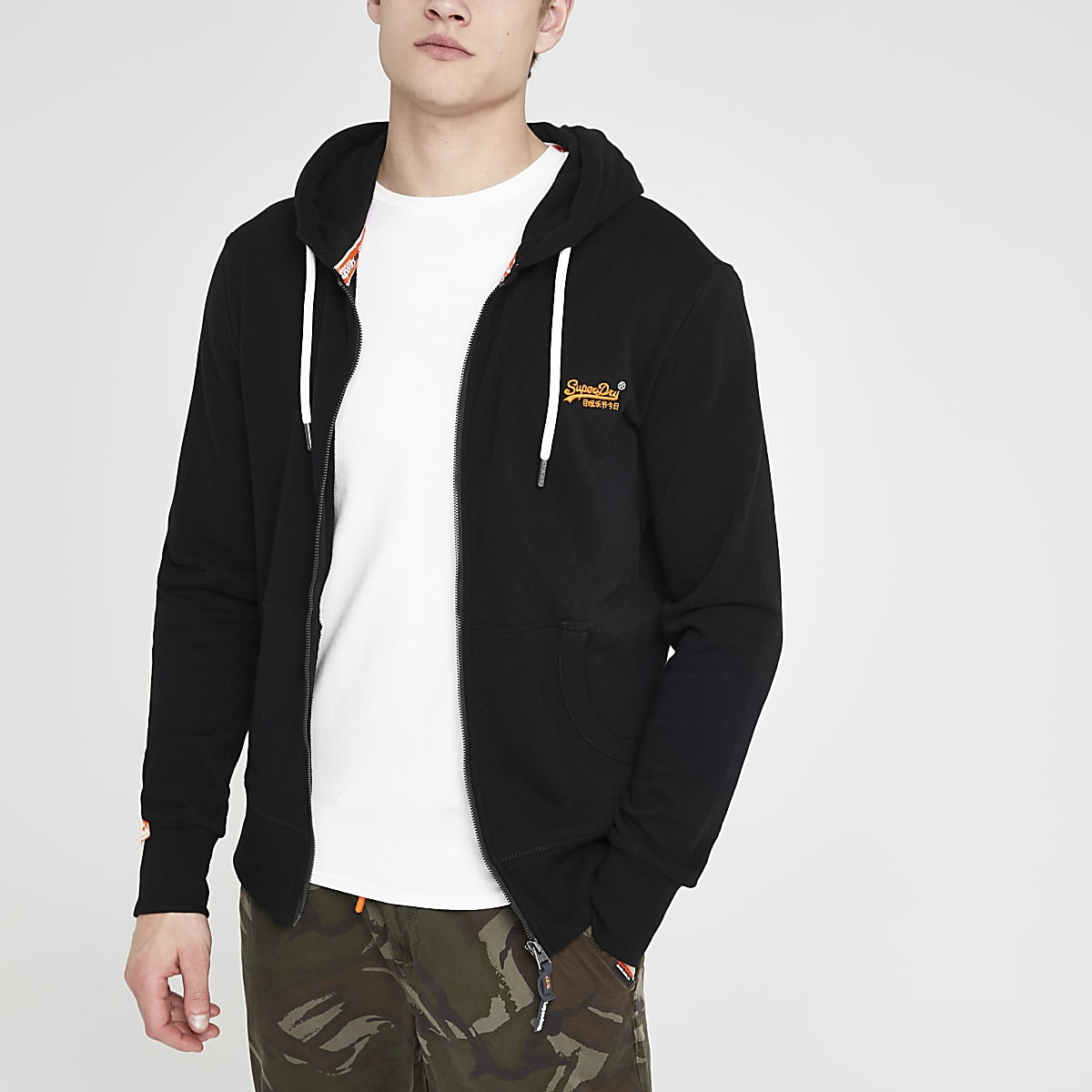 Superdry black zip up hoodie