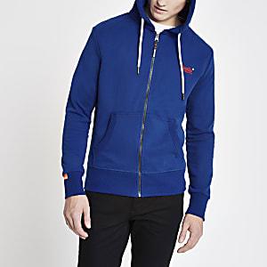 Superdry – Blauer Hoodie mit Reißverschluss
