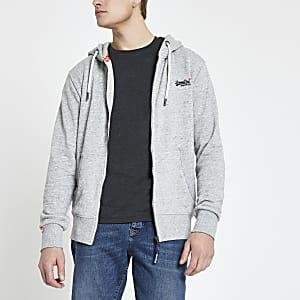 Superdry - Grijze geborduurde hoodie met logo en rits