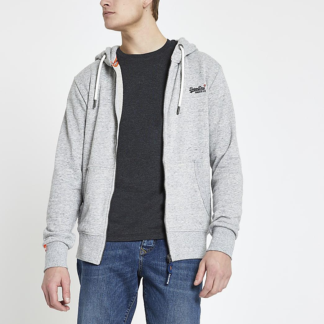 Superdry grey logo embroidered zip hoodie
