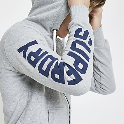 Superdry grey zip up hoodie