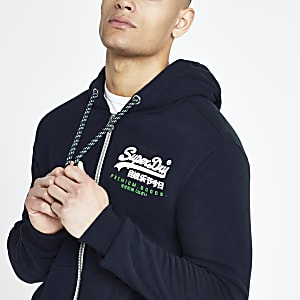 Superdry - Marineblauwe hoodie met rits