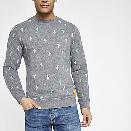 Superdry grey crew neck sweatshirt