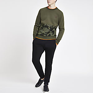 Superdry – Sweatshirt in Khaki mit Logo