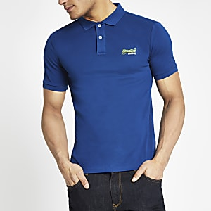 Superdry - Blauw poloshirt met logo