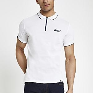 Superdry – Weißes Polohemd mit halbem Reißverschluss