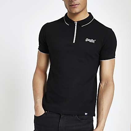 Superdry black half zip polo shirt