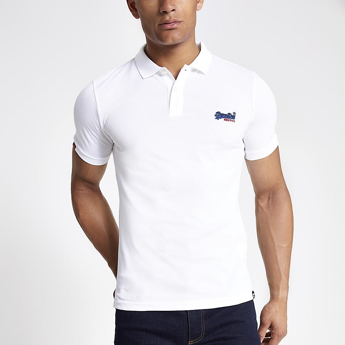 Superdry white polo shirt