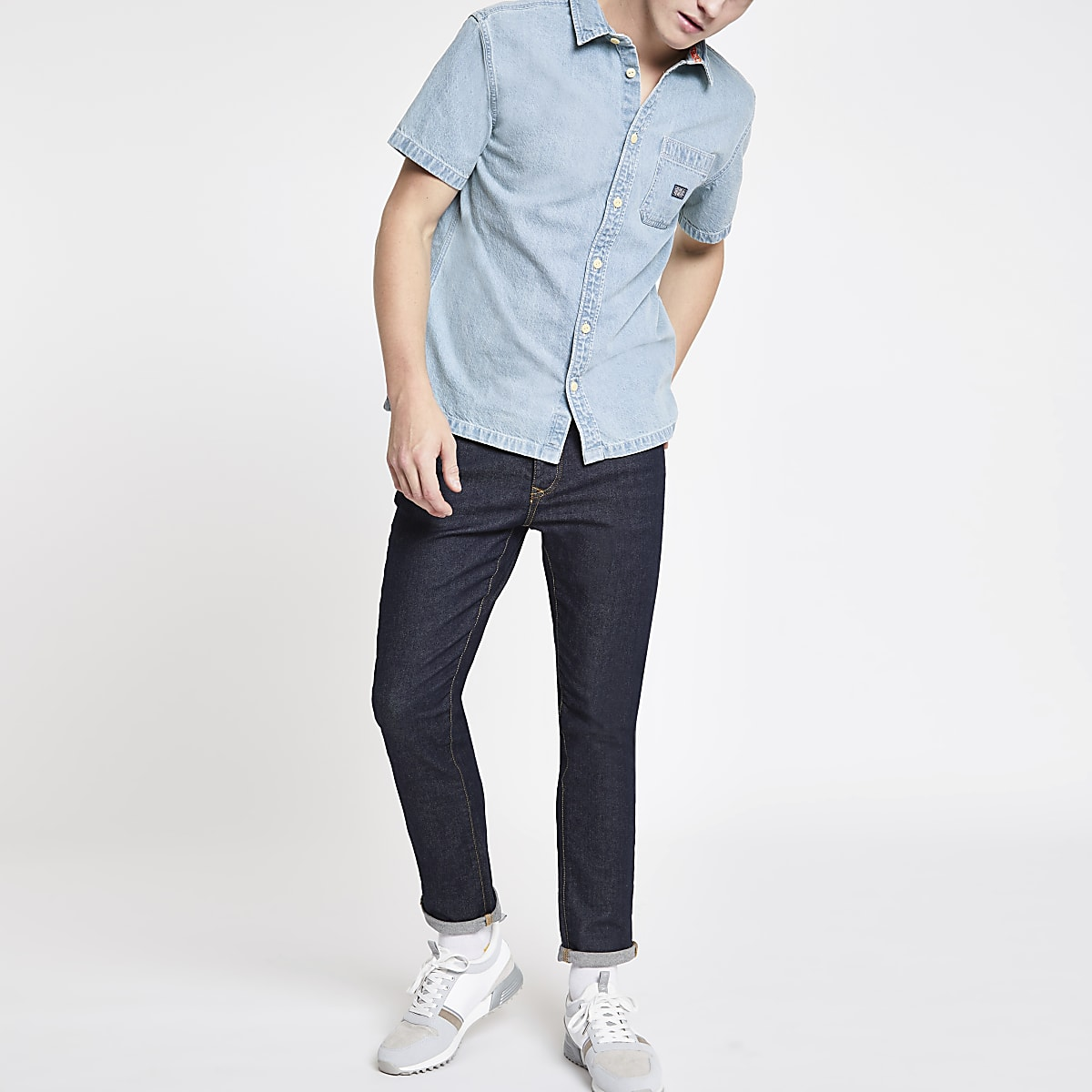 Superdry light blue denim short sleeve shirt