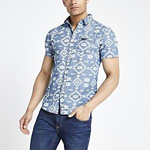 Superdry - Blauw overhemd met print en korte mouwen
