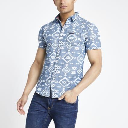 Superdry blue print regular fit shirt