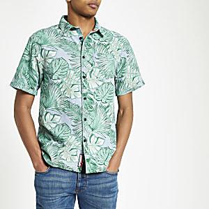 Superdry – Blaues Regular Fit Hemd mit Blattmuster