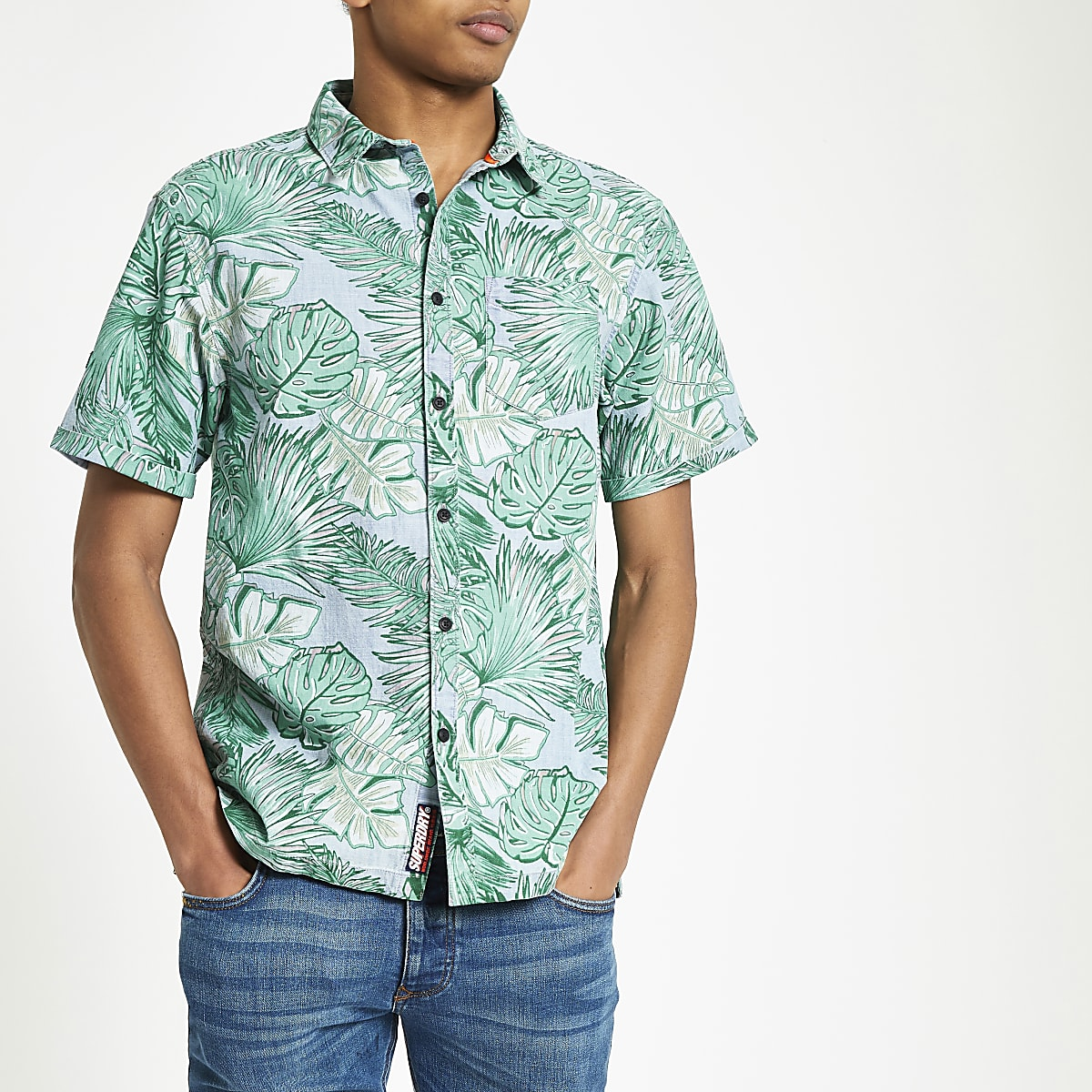 Superdry blue leaf print regular fit shirt