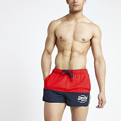 Superdry red runner swim shorts